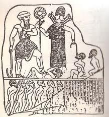 Inanna and her hybrid consort, Sargon of Sumer   with conquered hybrids